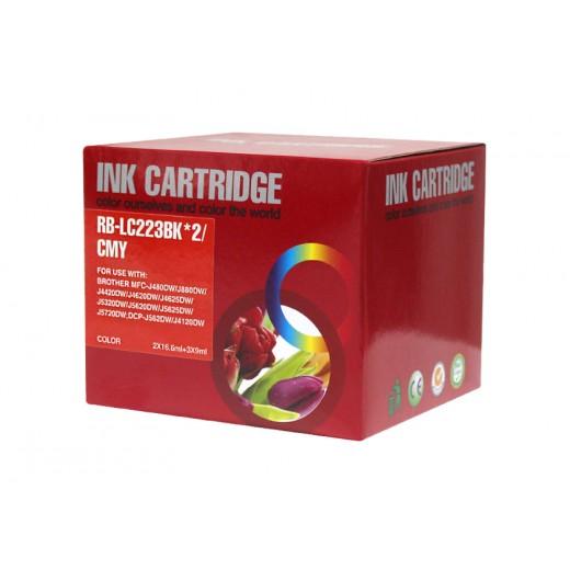 Compatible brother lc221/lc223 v2/v3 multipack de 5 cartuchos de tinta  BI-LC223PK-5