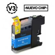 Compatible bulk_brother lc121xl/lc123xl v3 cyan cartucho de tinta  BULK-LC123CY