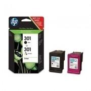 Original hp 301 negro + color pack de 2 cartuchos de tinta  N9J72AE