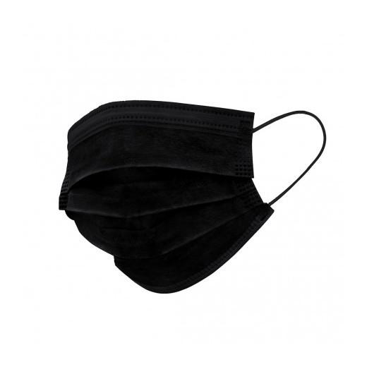 Pack 50 mascarillas higienicas desechables - bfe 95% - 3 capas - color negro