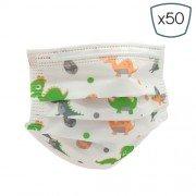 Prosafe pack 50 mascarillas higienicas infantiles desechables - 3 capas - bfe 95% - une 0064-2:2020 - diseño dinosaurios
