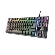 Trust gaming teclado metalico compacto thado gxt 833 usb - iluminacion led multicolor - 12 teclas multimedia - cable de 1.80m -