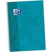 Cuaderno con espiral cuadriculado oxford european book 1 touch 400075553/ a4+/ 80 hojas/ azul agua