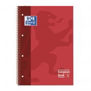 Cuaderno con espiral cuadriculado oxford european book 1 100430198/ a4+/ 80 hojas/ rojo