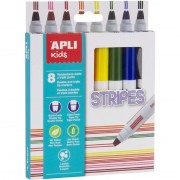 Rotuladores doble punta apli kids stripes 16809/ 7.5mm/ 8 unidades/ colores surtidos