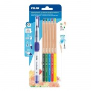 Pincel recargable + lápices milan water brush bwm10401/ acuarelables/ 1 + 5 unidades/ 4mm y 3.5mm/ colores surtidos