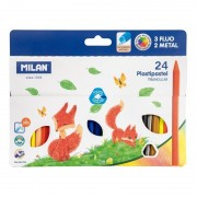 Lápices triangulares milan plastipapel 022t24/ 24 unidades/ colores surtidos