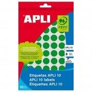 Etiquetas adhesivas apli 02733/ ø10mm/ 8 hojas/ verde
