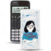 Calculadora científica casio classwiz fx-991spx iberia ii con carcasa ilustración jess wade/ blanca y negra