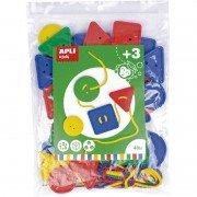 Juego de botones ensartables apli kids 17492/ 4 cuerdas + 48 botones/ colores surtidos